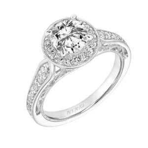 """Dolores"" Vintage Diamond Halo Engagement Ring"
