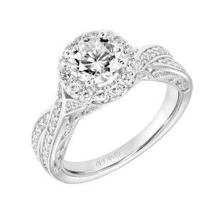 """Lucinda"" Vintage Diamond Halo Engagement Ring"