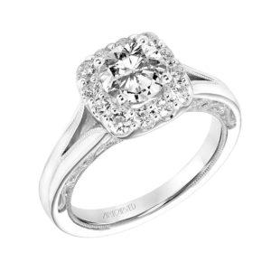 """Katherine"" Vintage Diamond Halo Engagement Ring"