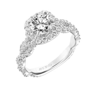 """Everly""  Diamond Cushion Halo Engagement Ring"