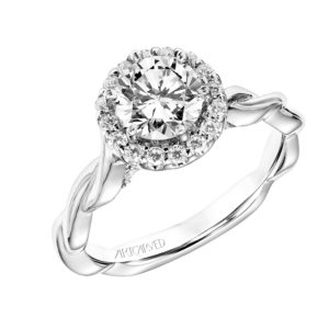 """Logan"" Diamond Halo Engagement Ring with twisted shank"