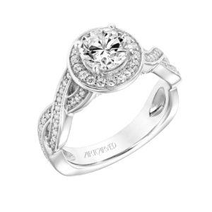 """Lyra"" Diamond Halo Engagement Ring"