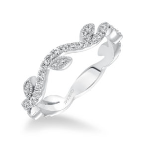 Diamond Stackable Band with Leaf and Vine Accents
