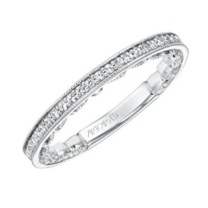 Diamond Prong Set Band with Scrollwork Filigree and Hand Milgrain