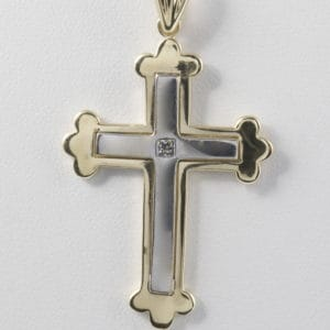 14k Two-Tone Diamond Cross