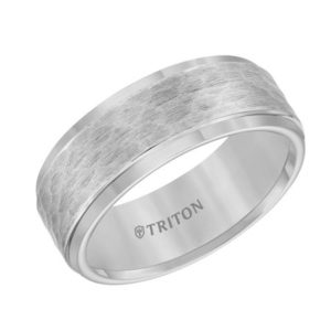8mm Gray Tungsten Ring with Hammered Finish