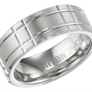 8mm Tungsten Band with Textured Engraving