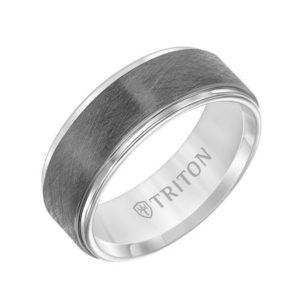 8mm Tungsten Gunmetal Finish Gents Band