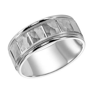 Men's 8.5 mm Satin Hammered Migrain Band