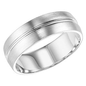 14k 8mm Mens Brushed Wedding Band