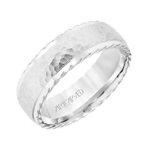 7mm Domed Hammered Wedding Band
