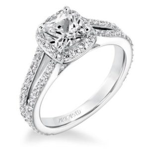 """Evangeline"" Halo with split shank Engagement Ring"