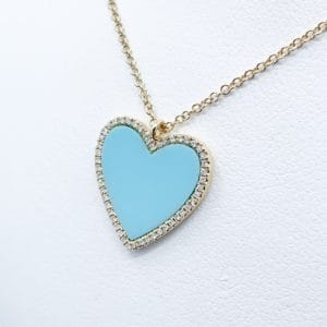 14k Diamond enamel heart pendant