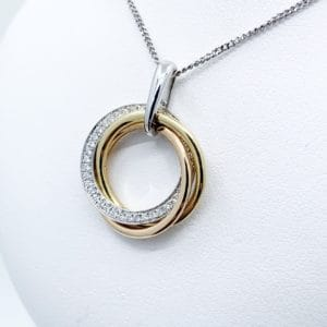18k Two-Tone Diamond Circle Pendant