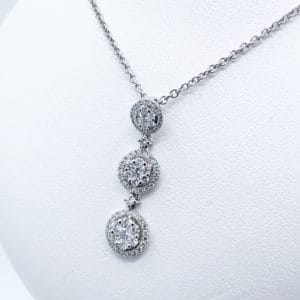 Triple Halo diamond Cluster pendant