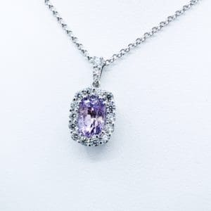Blush Pink Sapphire and Diamond Pendant
