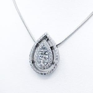 Diamond Invisible set tear drop pendant