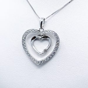 Estate Diamond Heart Pendant