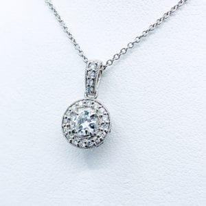 18k Diamond Halo Pendant 0.50 carats