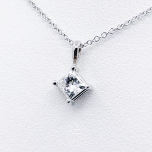 O.46 carat princess diamond solitaire pendant