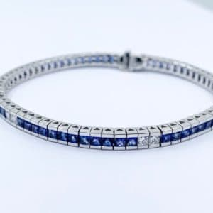 18k Sapphire and Diamond Tennis Bracelet