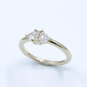 Custom trillion and round diamond band
