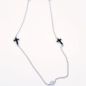 Elma Designs Diamond Enamel Cross Necklace
