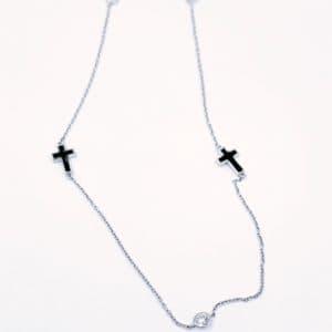 Elma Designs Diamond Enamel Cross Necklace
