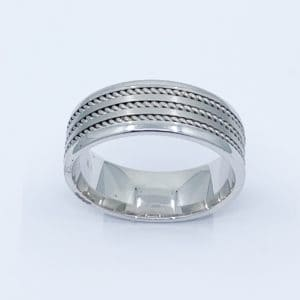 Men's White Gold Brushed Rope Band