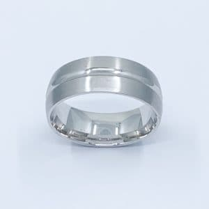 14k 8 mm mens brushed wedding band