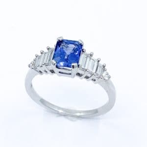 Emerald Cut Sapphire and Baguette Diamond Ring