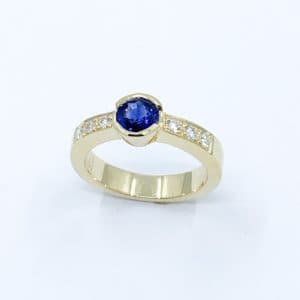 Natural Sapphire and Diamond Bezel Set Ring