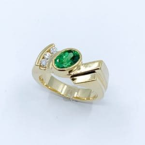 Custom Tsavorite Garnet and Diamond Ring