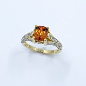 18k Spessartite  Garnet and Diamond Ring