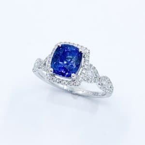 Cushion Cut Sapphire and Diamond infinity ring