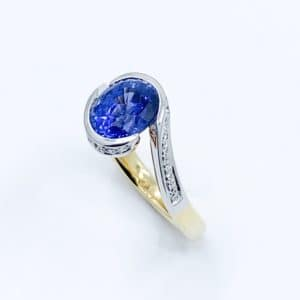 Bypass Sapphire and Diamond Two Tone Ring
