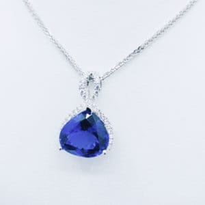 Trilion Cut Tanzanite and Diamond Pendant