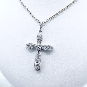 0.59 ct tw Pave diamond cross pendant