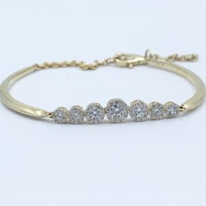14k Gold Diamond Halo Bracelet