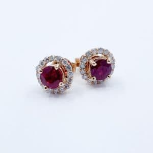 Rose gold Ruby and diamond halo earrings