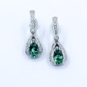 Mint Tourmaline and Diamond Earrings