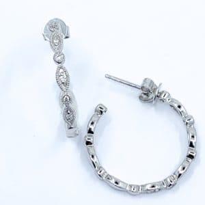 white gold vintage style diamond hoops