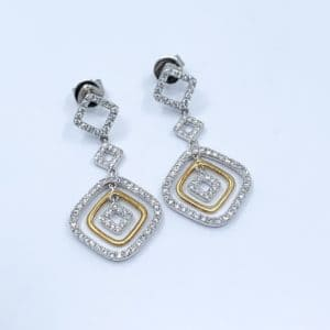 18k Two Tone Diamond Drop Earrings