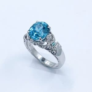 Natural Blue Zircon and Diamond Ring