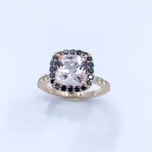Rose Gold Morganite and Black Diamond Ring