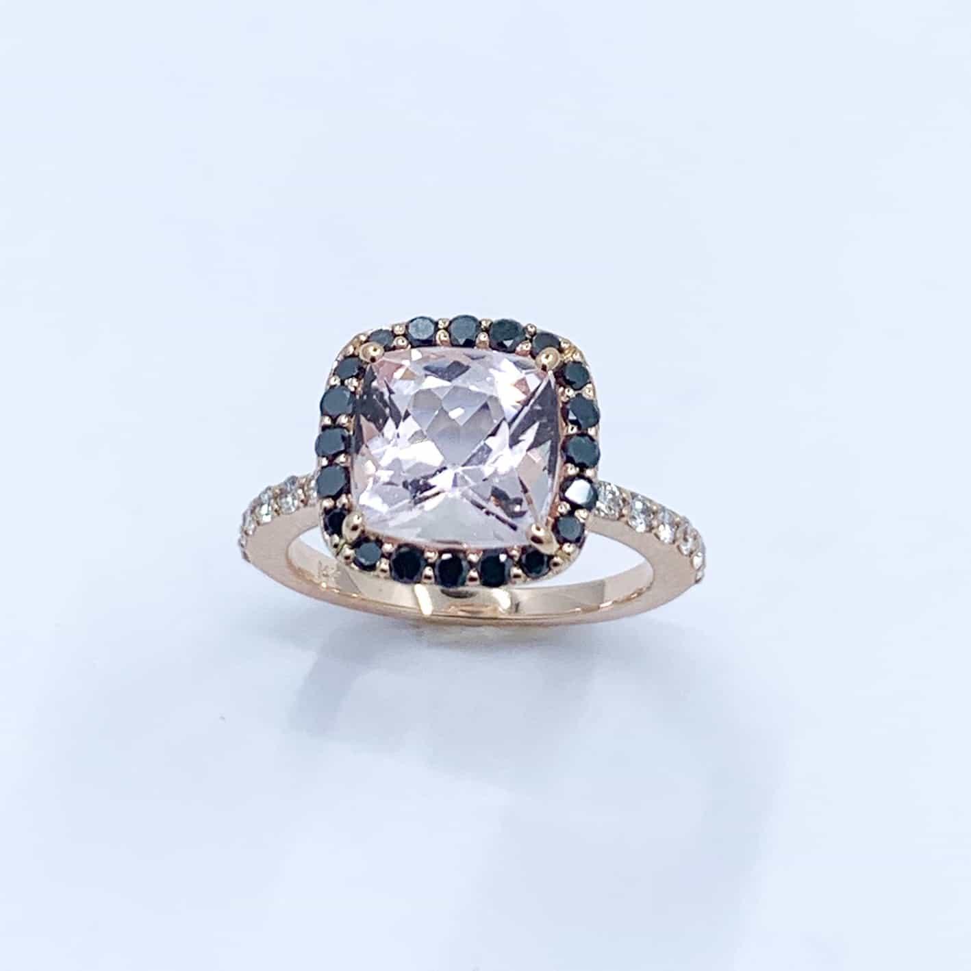 Rose Gold Morganite And Black Diamond Ring