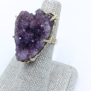 14k hand made Amethyst Druzy ring
