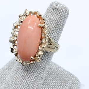 14k gold Natural coral ring