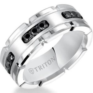 8mm Tungsten and Black Diamond Ring