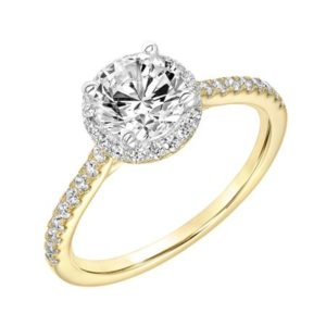 Classic Yellow Gold Diamond Halo Engagement Ring